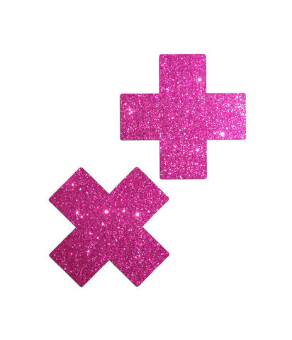 TRIPLE X GLITTER NIPPLE PASTIES - PINK