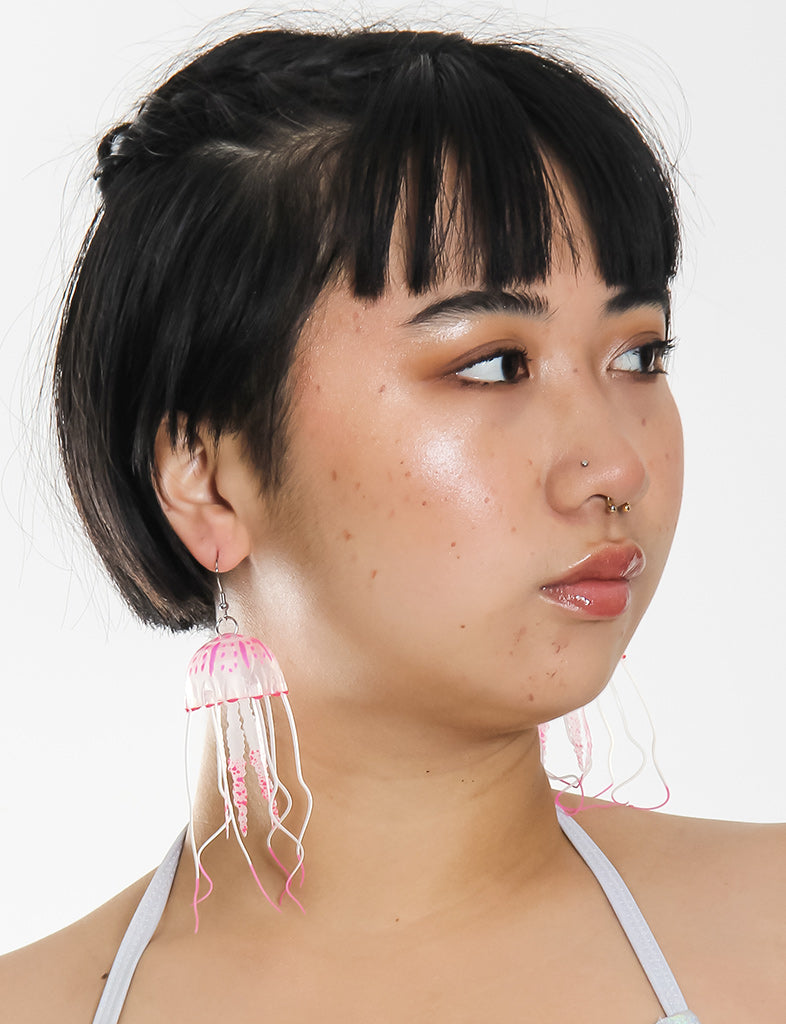 JELLY EARRINGS - SMALL NEON PINK