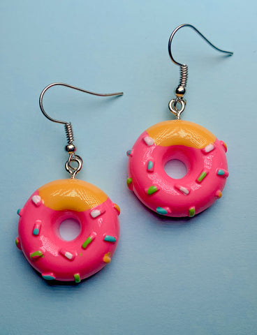 PINK ICING MINI DONUT EARRINGS