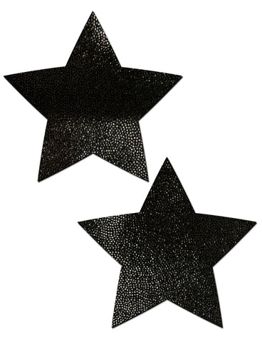 STAR NIPPLE PASTIES - PLAIN BLACK LIQUID