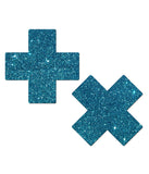 CROSS NIPPLE PASTIES - TURQUOISE GLITTER
