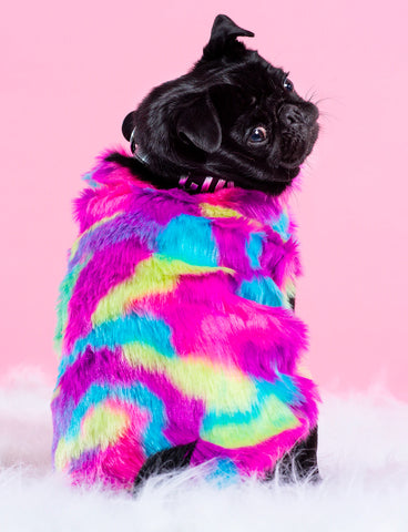 POPPING CANDY FAUX FUR DOG JACKET