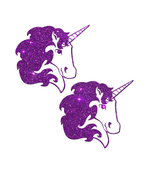 GLITTERING UNICORN NIPPLE PASTIES - PURPLE