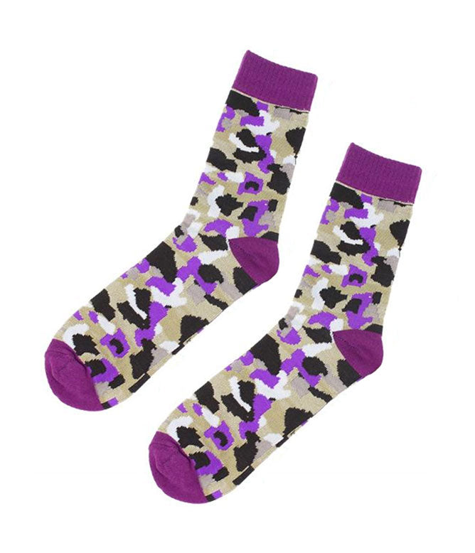PURPLE CAMO KNITTED SOCKS