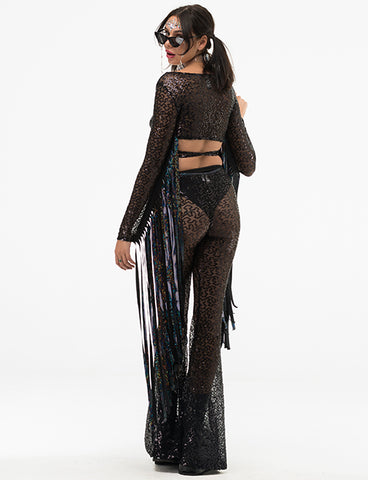 SHIMMER SEQUIN SHEER FLARES - BLACK SEQUIN