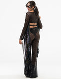 KARMA SEQUIN WRAP UP TOP - BLACK SEQUIN