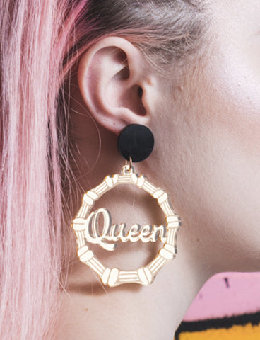 QUEEN BAMBOO HOOP EARRINGS