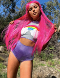 RAINBOW SHIMMER HALTER TOP
