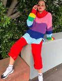 LAZY RAINBOW KNIT ROLL NECK JUMPER