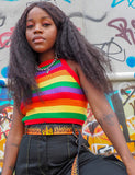 RAINBOW KNIT CROP TOP
