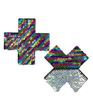 CROSS NIPPLE PASTIES - RAINBOW SEQUIN