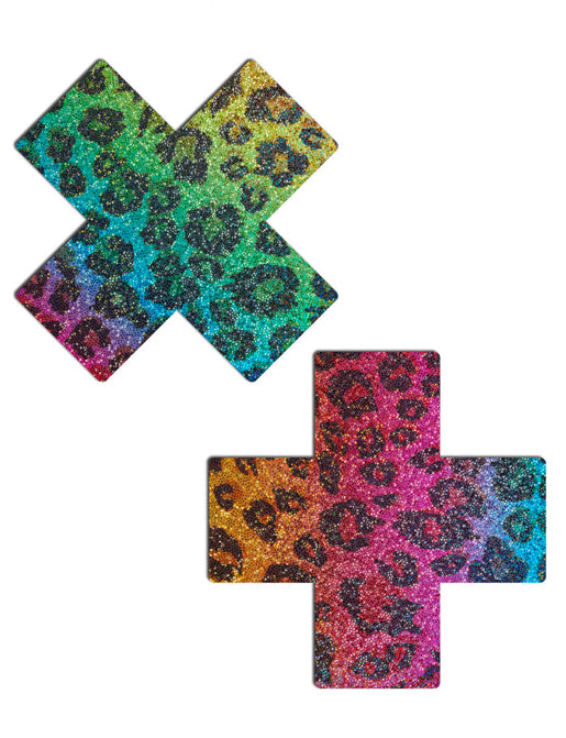 CROSS NIPPLE PASTIES - RAINBOW LEOPARD GLITTER
