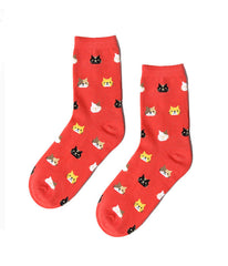 ULTIMATE CRAZY CAT LADY SOCKS - RED