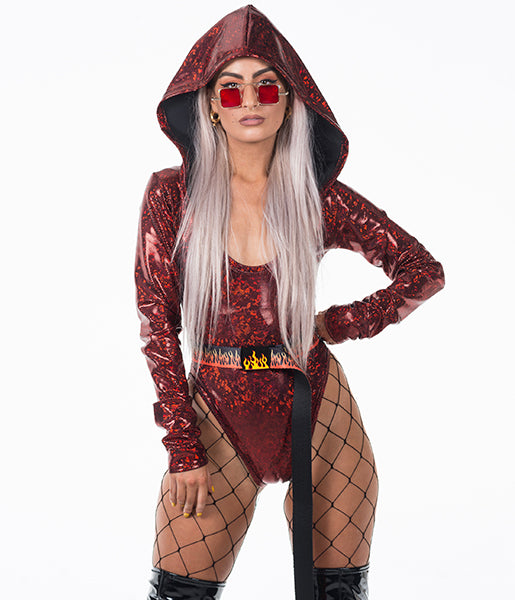 HOODED BODYSUIT - RED