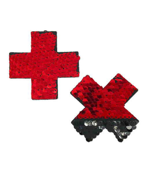 CROSS NIPPLE PASTIES - RED SEQUIN