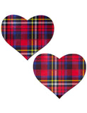 HEART NIPPLE PASTIES - RED TARTAN