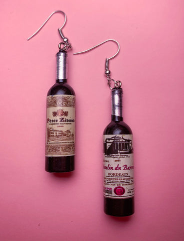 WINE CLUB EARRINGS - RED