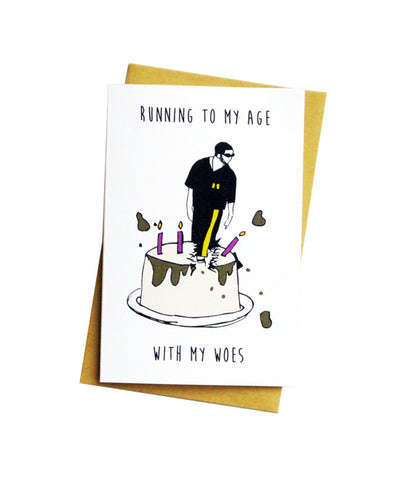 RUNNING TO MY AGE GREETING CARD