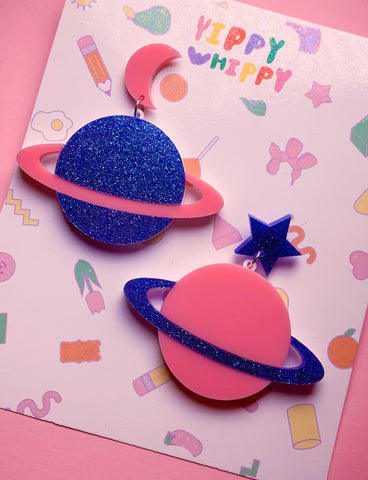 STELLAR SATURN EARRINGS - PINK BLUE