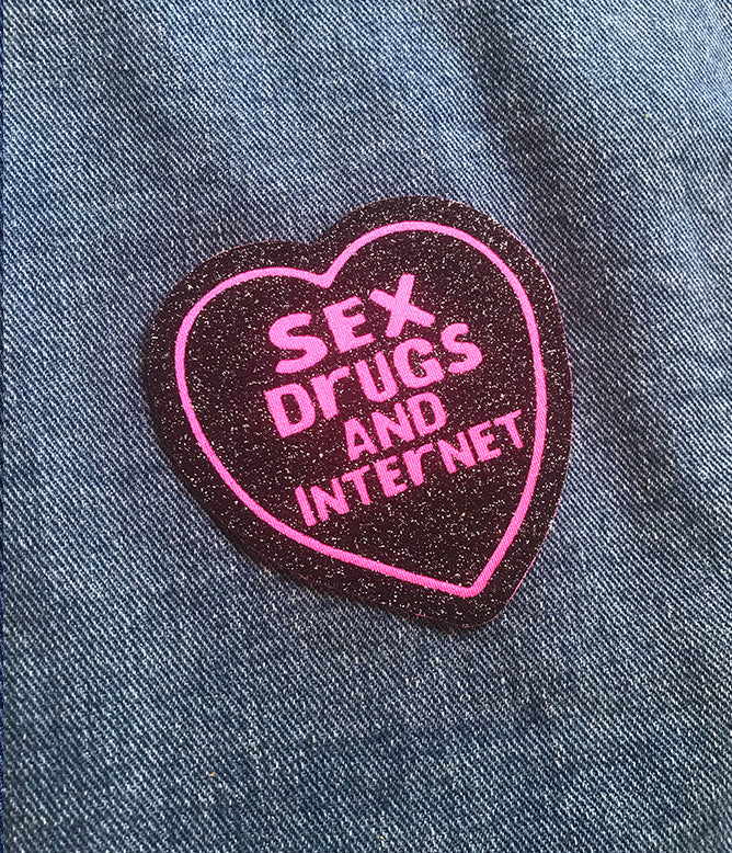SEX DRUGS INTERNET GLITTER PATCH