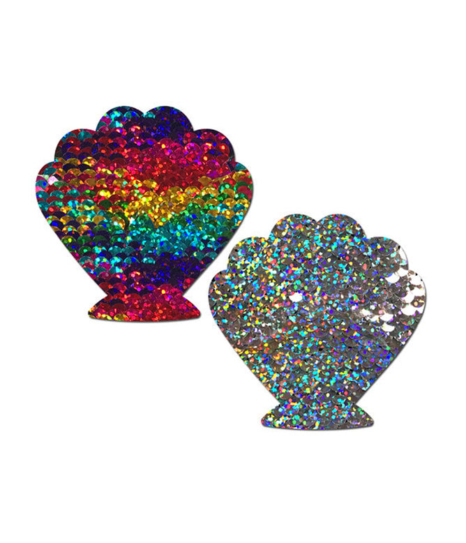 MERMAID SHELL NIPPLE PASTIES - RAINBOW SEQUIN