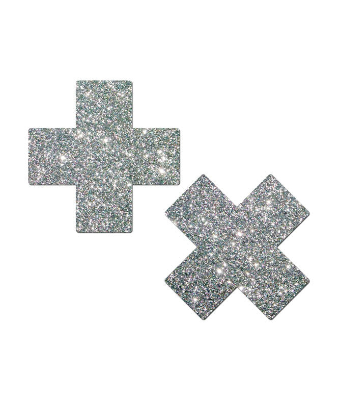 CROSS NIPPLE PASTIES - SILVER GLITTER