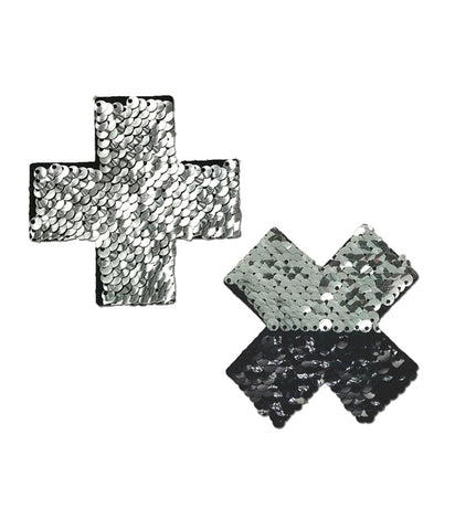 CROSS NIPPLE PASTIES - SILVER SEQUIN