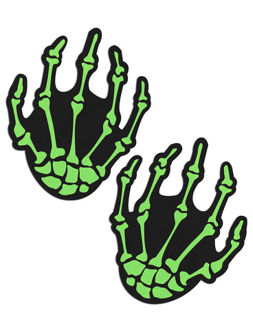 SKELETON HANDS NIPPLE PASTIES - BLACK & NEON GREEN