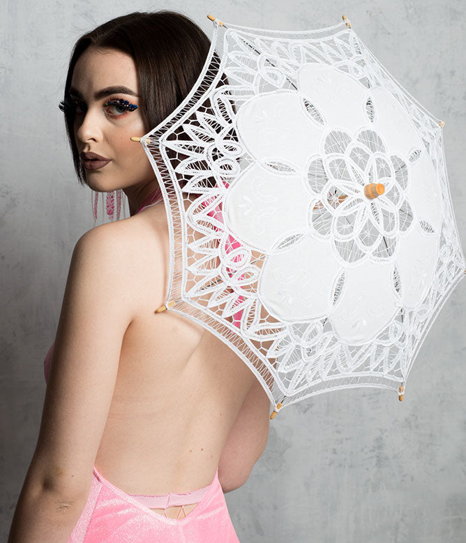 DOOF UMBRELLA - SMALL WHITE LACE
