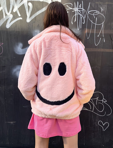 SMILEY FAUX FUR COAT - PINK *MADE TO ORDER*