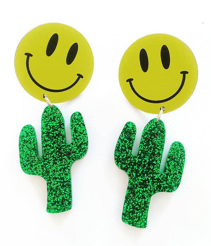 SMILEY CACTUS EARRINGS