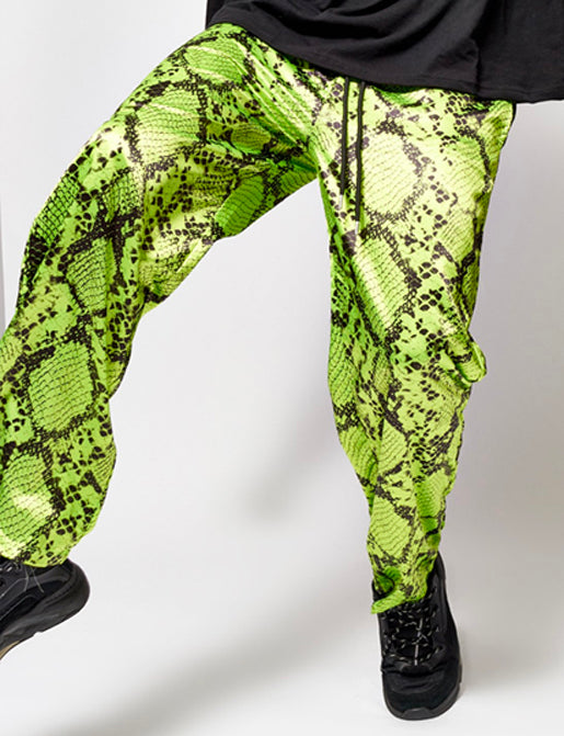 NEON GREEN SNAKE SATIN PANTS