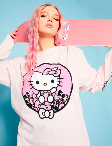 HELLO KITTY PINK PRINTED L/S TOP
