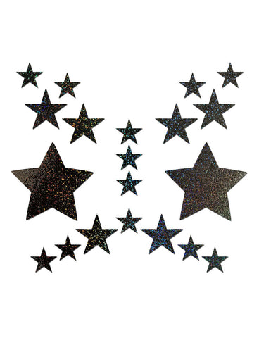 NIPPLE PASTIES & BODY STICKERS SET - BLACK STAR