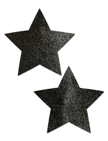 STAR NIPPLE PASTIES - BLACK *REUSABLE SILICONE*