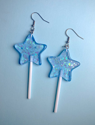 STAR LOLLIPOP EARRINGS - BLUE GLITTER
