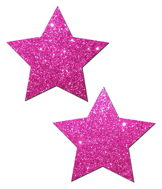 STAR NIPPLE PASTIES - PINK GLITTER