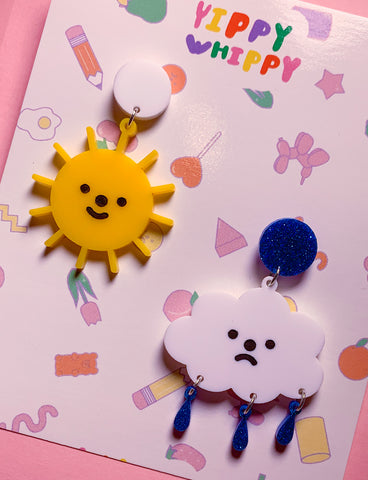 HAPPY SAD SUN CLOUD EARRINGS