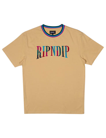 COLOUR BLOCK EMBROIDERED TEE - TAN