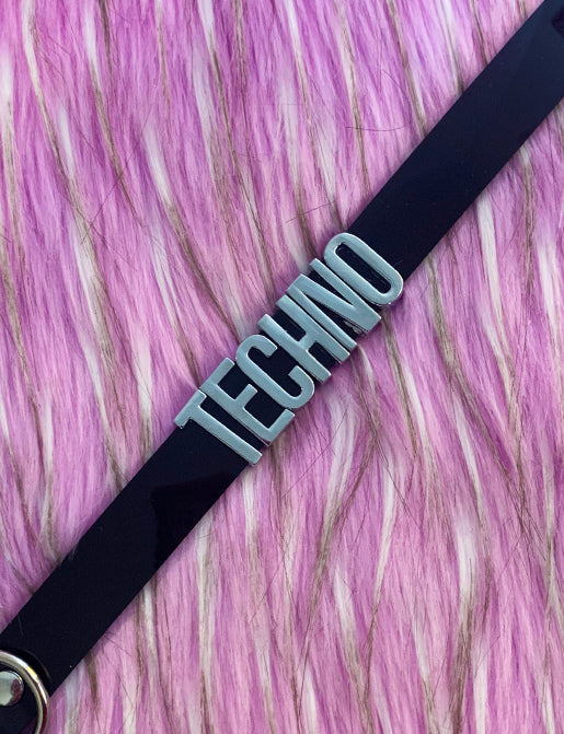 TECHNO MINI WORD CHOKER - BLACK