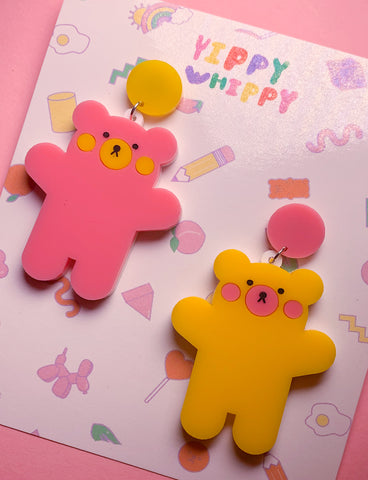 TEDDY BEAR EARRINGS - YELLOW/PINK