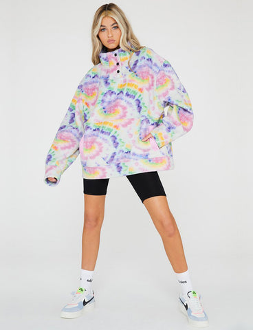 RAINBOW TIE DYE FLEECE BUTTON UP JUMPER