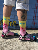 TECHNO UNTZ SOCKS - PINK & YELLOW