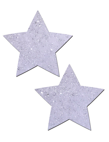 STAR NIPPLE PASTIES - WHITE VELVET GLITTER