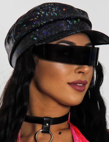 WARP DISCO VISOR - BLACK WITH BLUE LENS