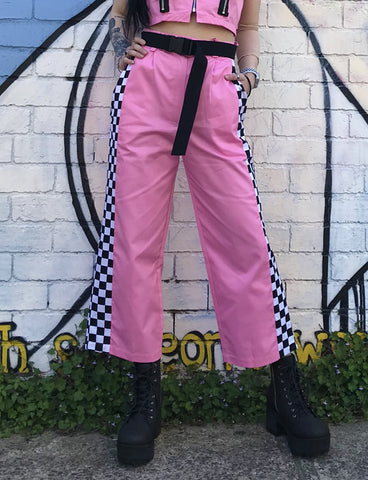 WIDE LEG TROUSER - BABY PINK CHECK