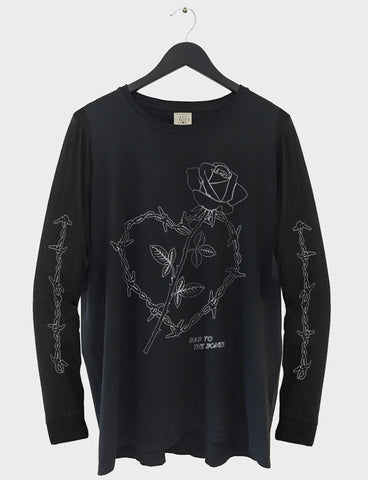 Wire Heart Long Sleeve Tee - Black