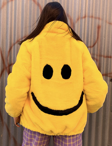 SMILEY FAUX FUR COAT - YELLOW *MADE TO ORDER STYLE*