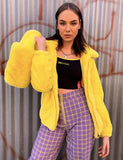 SMILEY FAUX FUR COAT - YELLOW