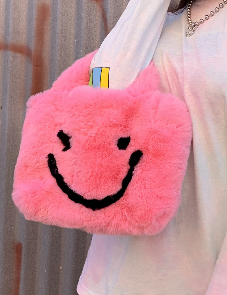 SMILEY FAUX FUR HANDBAG - PINK